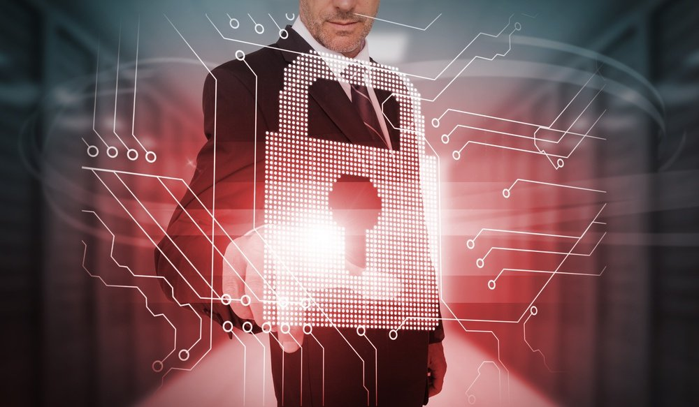 Businessman touching futuristic lock and circuit board interface in data center